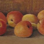 Giuseppe Mozzanica, Sette albicocche mature, olio su masonite, 21 x 12 cm, Pinacoteca - Fondazione Giuseppe Mozzanica.