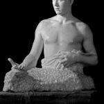 Giuseppe Mozzanica, Il naufrago, 1951, busto, marmo di Carrara, 70 x 93 x 60 cm, Fondazione Giuseppe Mozzanica.