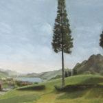 Giuseppe Mozzanica, Da località Paradiso vista su lago di Garlate e Monte Barro, 1953, pastello su cartone pressato, 57 x 45 cm, Pinacoteca - Fondazione Giuseppe Mozzanica.