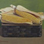 Giuseppe Mozzanica, Pannocchie, 1974, olio su masonite, 40 x 30 cm, Pinacoteca - Fondazione Giuseppe Mozzanica.