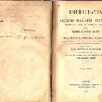 Particolare dell'interno del volume di Emeric-David sulle ricerche sull'arte statuaria con annotazioni di Giuseppe Mozzanica, Archivio - Fondazione Giuseppe Mozzanica.