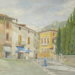 Giuseppe Mozzanica, Bar della Mina in piazzetta corso Matteotti a Lecco, 1961, olio su tela, 70 x 55 cm, Pinacoteca - Fondazione Giuseppe Mozzanica.