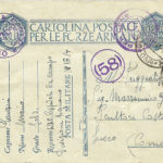 Cartolina postale per le forze armate del 24 gennaio 1941, documento d'archivio - Fondazione Giuseppe Mozzanica.