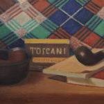 Giuseppe Mozzanica, Pipa e Toscani, 1966, olio su masonite, 40 x 20 cm, Pinacoteca - Fondazione Giuseppe Mozzanica.