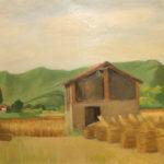 Giuseppe Mozzanica, Covoni in località Campò, 1959, olio su legno multistrato 4 mm, 75 x 46 cm, Pinacoteca - Fondazione Giuseppe Mozzanica.